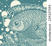 vintage graphic fish in two... | Shutterstock .eps vector #239237095