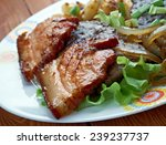 calf liver and bacon   dish... | Shutterstock . vector #239237737