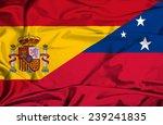 waving flag of samoa and spain | Shutterstock . vector #239241835