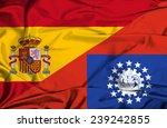 waving flag of myanmar and spain | Shutterstock . vector #239242855