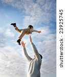 flying child on sky background | Shutterstock . vector #23925745