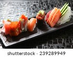 japanese sushi roll on a black...   Shutterstock . vector #239289949