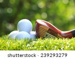 golf balls and wooden driver on ... | Shutterstock . vector #239293279
