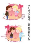 valentine's day. girl and boy... | Shutterstock .eps vector #239308741