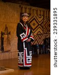 Small photo of Shiraoi, JAPAN, OCTOBER 12, 2014 - Ainu woman in Shiraoi Ainu Museum (Porotokotan)