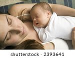 mother sleeping peacefuly with... | Shutterstock . vector #2393641