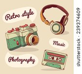 Set Of Retro Items. Camera ...