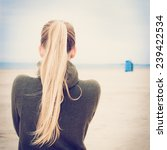 Lonely Girl With Long Blond...