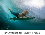 muscular surfer with long white ... | Shutterstock . vector #239447011