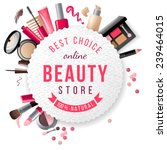 beauty store emblem with type design and cosmetics | Shutterstock vector #239464015