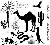 Set Of Silhouettes Of Desert ...