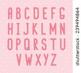 pink stitch alphabet on the... | Shutterstock .eps vector #239494864