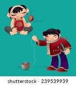 Chinese Kids Playing Rattle...