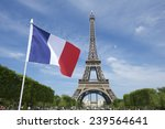 Eiffel Tower With French Flag...