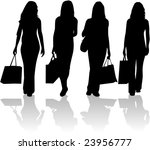 shopping girls   vector work | Shutterstock .eps vector #23956777