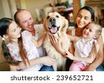 cute girls and their parents... | Shutterstock . vector #239652721