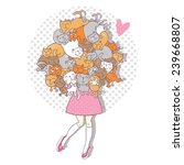 vector illustration with happy... | Shutterstock .eps vector #239668807