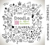 doodle 100 icons. hand drawn ... | Shutterstock .eps vector #239683411