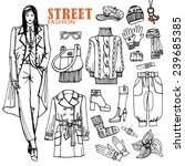 fashion illustration in sketch... | Shutterstock .eps vector #239685385