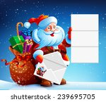 santa claus reads a letter of...   Shutterstock .eps vector #239695705