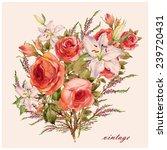 Watercolor Bouquet Of Beautifu...