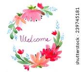 watercolor  wreath  flowers | Shutterstock . vector #239745181