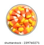 Candy Corn In Jar On White...