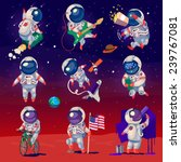 set of cute astronauts in space ... | Shutterstock .eps vector #239767081