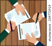two partners signs document...   Shutterstock .eps vector #239772919