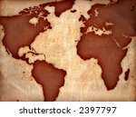 world map on ancient sheet ... | Shutterstock . vector #2397797