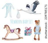 newborn baby set. watercolor...   Shutterstock .eps vector #239785171