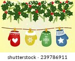 christmas gloves on the lace | Shutterstock .eps vector #239786911
