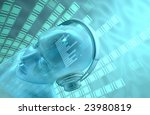dj head music. equalizer inside ... | Shutterstock . vector #23980819