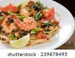 italian pasta with prawn  ... | Shutterstock . vector #239878495