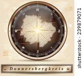 Map of Donnersbergkreis with borders in bronze
