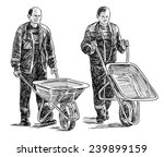 workers with wheelbarrows | Shutterstock . vector #239899159