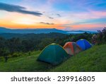 Camping Tent In Campground At...