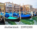 Gondola boats on Grand Canal in Venice, Italy - stock photo