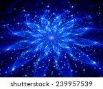 Blue Glowing Flower In Space ...
