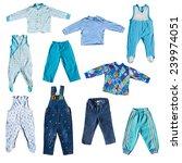 set of blue boyish clothes... | Shutterstock . vector #239974051