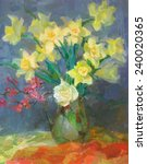 Drawing Oil  Flowers Daffodils