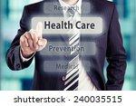 businessman pressing health... | Shutterstock . vector #240035515