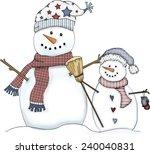 Snowman Clip Art Of 2 Snowmen