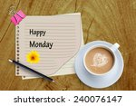 happy monday word and coffee... | Shutterstock . vector #240076147