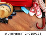suitcase and tourist stuff with ... | Shutterstock . vector #240109135