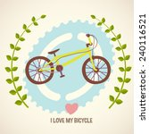 i love my bicycle  cartoon flat ... | Shutterstock .eps vector #240116521