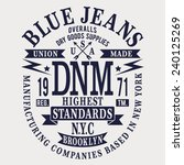 Denim Blue Jeans Typography  T...