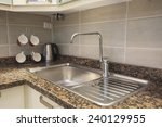 kitchen sink with tap on marble ... | Shutterstock . vector #240129955