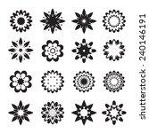 set of black geometric flowers | Shutterstock .eps vector #240146191