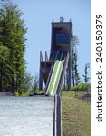 Small photo of WISLA, SOUTH POLAND - July 24, 2013 Springboard of skier (the name of Adama Malysza) and Chairlift in Wisla Malinka. Is a town in Cieszyn County, Silesian Voivodeship, near the Czech Republic.